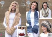 King Cole Ladies Super Chunky Knitting Pattern Scarves Snood Slouchy Hat & Hand Warmer