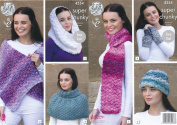 King Cole Ladies Super Chunky Knitting Pattern Scarf Shoulder Wrap Snood Hat & Wrist Warmers