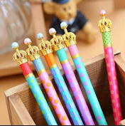 LEFV™ Set of 6 Princess Crown Premium Gel Ink Pen Lovely Cute Polka Dots Korean Style Rollerball Roller Ball Pen Fine Point Creative Stationery for Artist School Office Family Use, Black Ink