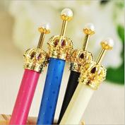 LEFV™ Princess Crown Gel Ink Pen Love Heart Dots Cute Korean Style Rollerball Pen Creative Stationery, Black Ink, Pack of 12