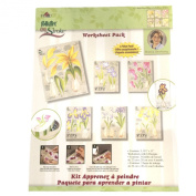 4217 Bulb Flowers One Stroke Reusable Painting Teaching Guide Worksheet Pack