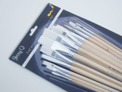 Jerry Q Art 12 PC White Synthetic Flat Brush Set With Long Handles For Watercolour and Acrylic JQ66051