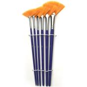 6 Set Fan Bristle Paint Brush - Oil Acrylic Artist Professional #2,4,6,8,10,12