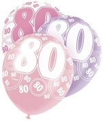 Unique Party 30cm Glitz Pink Latex Birthday Balloons, Pack Of 6
