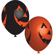 Anagram Orange & Black Pumpkin 4 Sided Print 28cm Latex Balloons x 6