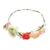 EOZY Women Handmade Artificial Flowers Leaf Crown Wedding Garland 18cm diameter