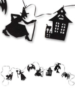Bethany Lowe Halloween Glitter Witch Haunted House Silhouette Garland