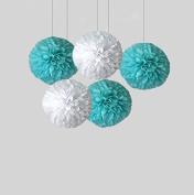 Aqua Blue and White Tissue Paper Poms Set of 5