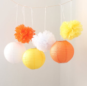 HoHoDeal 9PCS Mixed Yellow Orange White Tissue Paper Pom Poms and Paper Lantern Wedding Party Hanging Decoration