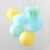 HoHoDeal 9PCS Mixed Yellow Blue Mint Tissue Paper Pom Poms and Paper Lantern Wedding Party Hanging Decoration