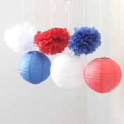 HoHoDeal 9PCS Mixed Royal Blue Red White Tissue Paper Pom Poms and Paper Lantern Wedding Party Hanging Decoration