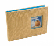 BorderTrends Beach 40-Pocket Rattan Cover Photo Album, Blue