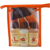 Little Twig All Natural, Hypoallergenic Baby Travel Basics 4 Piece Gift Set with Ladybug Bath Mitt, Happy Tangerine Scent, 60ml Bottles by Little Twig