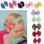 Susenstone® 10PC Babys Headband Hairband Elastic Wave Point Bowknot Photography