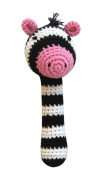 Cheengoo Organic Crocheted Zebra Stick Rattle