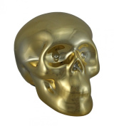 8.9cm Tall Gold Chrome Plated Ceramic Human Skull Money Bank