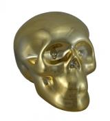 8.9cm Tall Gold Chrome Plated Ceramic Human Skull Money Bank