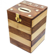 Handmade Dual Tone Square Wooden Piggy Bank Money Box set of 4