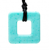 Teething Bling Jade Square Pendant Teether Necklace
