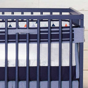 Just Born Adventure Fresh Air Crib Liner, Navy/Orange