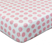 Petit Nest Chloe Pink Punch Dot Fitted Crib Sheet by Lonni Paul