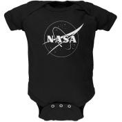 NASA Outline Logo Black Soft Baby One Piece
