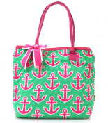 NGIL Hot Pink Anchor Print Quilted Tote