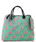 NGIL Navy Hot Pink Anchor Print Quilted Shopping Tote