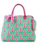 NGIL Hot Pink Anchor Print Quilted Shopping Tote