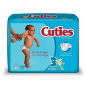 Cuties Premium Baby Nappies, Size 3, 36 Ea (Pack of 4) by Cuties