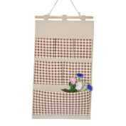 Starsource Lined/Cotton Fabric 6 Pockets Wall Door Closet hanging Storage Bag Organiser with wooden hanger Dots/Square,Brown