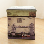 HAKACC Foldable Storage Cube/Ottoman/Foot Stool,London Style