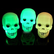 Pesp® 3pcs 7-colour Halloween Light Skull Head Flash LED Lamp Gifts Toys