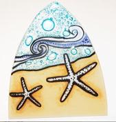 Whimsical Recycled Glass Night Light - Handmade and Fair Trade - White Starfish