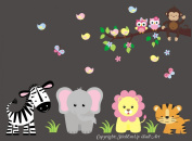 Baby Nursery Kids Children's Wall Decals: Safari Jungle Animals Wildlife Themed 150cm tall X 130cm wide (Inches)