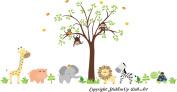 Baby Nursery Kids Children's Wall Decals: Safari Jungle Animals Wildlife Themed 210cm tall X 390cm wide (Inches)
