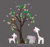 Baby Nursery Kids Children's Wall Decals: Safari Jungle Animals Wildlife Themed 210cm tall X 280cm wide (Inches)