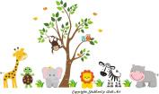 Baby Nursery Kids Children's Wall Decals: Safari Jungle Animals Wildlife Themed 210cm tall X 370cm wide (Inches)