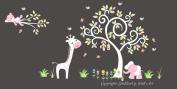 Baby Nursery Kids Children's Wall Decals: Safari Jungle Animals Wildlife Themed 190cm tall X 360cm wide (Inches)