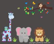 Baby Nursery Kids Children's Wall Decals: Safari Jungle Animals Wildlife Themed 150cm tall X 130cm wide (Inches)