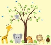 Baby Nursery Kids Children's Wall Decals: Safari Jungle Animals Wildlife Themed 230cm tall X 280cm wide (Inches)