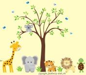 Baby Nursery Kids Children's Wall Decals: Safari Jungle Animals Wildlife Themed 230cm tall X 280cm wide (Inches)