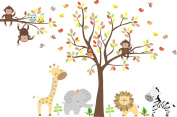 Baby Nursery Kids Children's Wall Decals: Safari Jungle Animals Wildlife Themed 210cm tall X 330cm wide (Inches)