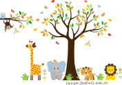 Baby Nursery Kids Children's Wall Decals: Safari Jungle Animals Wildlife Themed 210cm tall X 320cm wide (Inches)