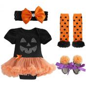 TIAOBU Baby Girls Halloween Petti Tutu Romper Headband Leg Warmer Shoes Outfits