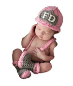 Pinbo® Baby Girls Photography Prop Crochet FD Firewoman Hat Nappy Overalls