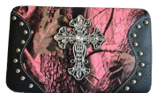 Western Hot Pink Black Camo Mossy Oak Rhinestone Cross Chequebook Wallet Clutch Purse