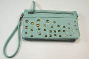 Light Blue Studded Wristlet/Crossbody Handbag