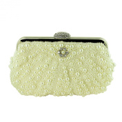 Faux Pearl Beaded Evening Purse with Crystals