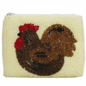 E.a@market Chinese Handmade Beaded Coin Purse Card Pouch Big Rooster